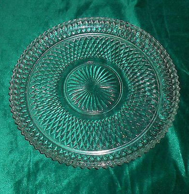"""Clear 12"""" Torte Plate /Cake Serving / Hostess Tray Diamond Point by Indiana"""