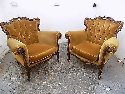 pair,vintage,Louis,French,wood frame,mustard,arm chairs,chair,cabriole legs,worn