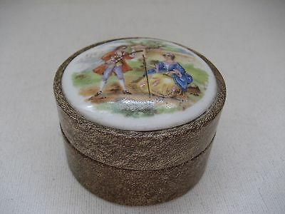 Vintage Dresser Box With Porcelain Plaque Top - 18th Century Courting Scene