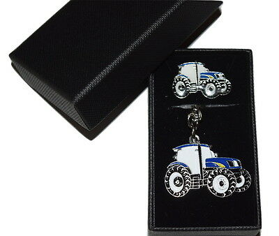 Ford New Holland Blue Tractor Keyring & Pin Badge Set Farming GIFT Set Enamel