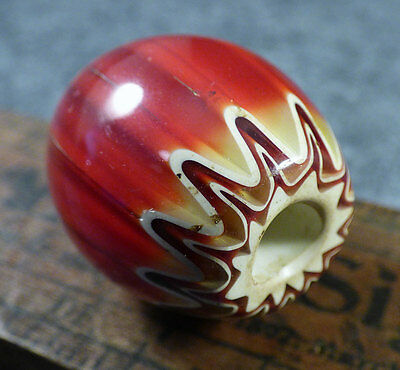Early Indian 6 Layer Chevron Glass Trade Bead Rare Red Color Large Size