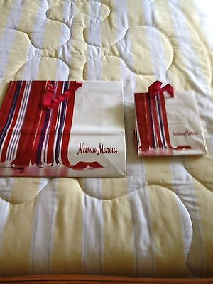 2 Red Ribbons Shopping Bags From Neiman Marcus