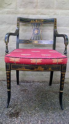 Chinoiserie Chinese Asian Dining Set 6 Chairs Table Duncan Phyfe Regency Style