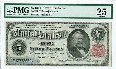 """$5 1891 """"Large Size"""" Silver Certificate PMG 25 """"Very Fine"""" """"Minor Repairs"""""""