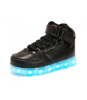 Men Light Up Sneakers Rechargeable USB LED Shoes Black High Tops US 11