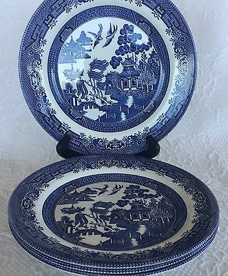 """SET OF 4 CHURCHILL BLUE WILLOW 10 1/4"""" Dinner Plates, excellent oriental theme"""