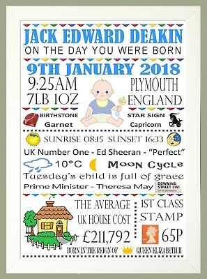 The Day You Were Born Personalised A4 Print Gift Memory New Baby Childs Keepsake