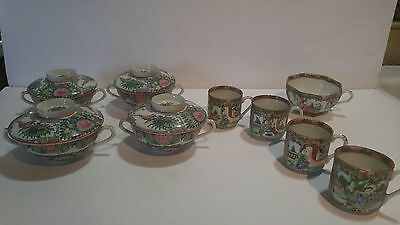 Antique Famille Rose Tea Cups 13 piece set