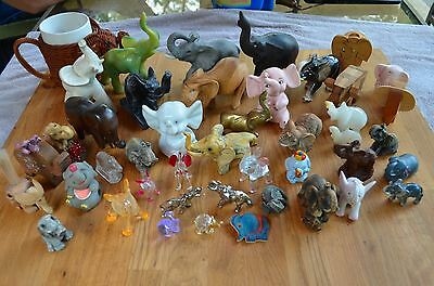 Antique Vintage 44 Piece Elephant Figure Lot Onyx Brass Glass Resin Wood Ceramic