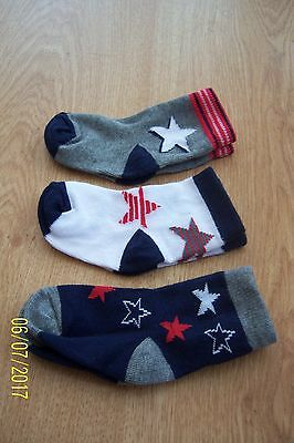 3 Pairs Baby Boys Socks 3 - 6 Months Navy Blue Grey Red & White With Stars Bnwot