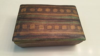 Vintage Raymor Italy Pottery Ceramic Cigarette/trinket Box With Lid ~ Excellent!
