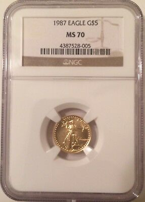 Flawless 1987 $5 GOLD EAGLE NGC  MS70  LOW POP COIN! MS 70