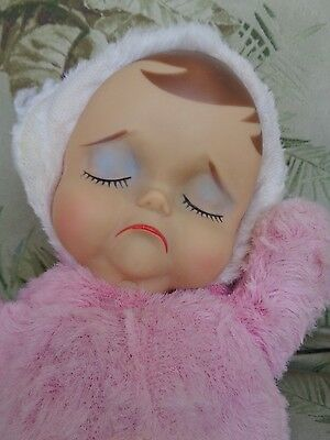 DOLL:  1950's Knickerbocker Pink Plush Pouting Animals with Sad Face