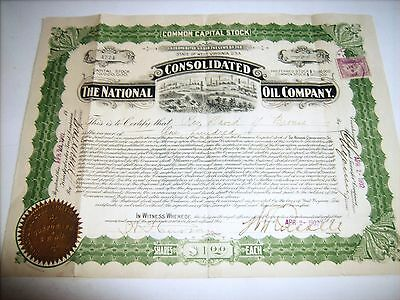 1902 oil stock certificate, National Consolidated Oil Co.