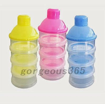 4 Layers Infant Baby Milk Powder Feeding Dispenser Storage Case Travel UK