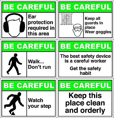 Peel And Stick Be Careful Safety Label Vinyl Decal Sticker