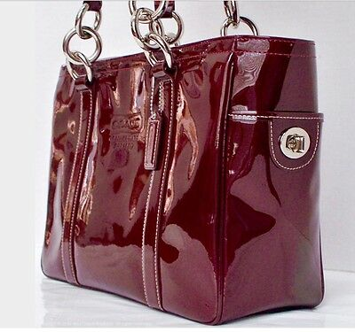 Coach Patent Leather Burgundy/Red Tote Shoulder Handbag F12838