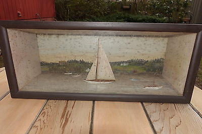 Circa 1920 DIORAMA TWO SAILBOATS AND THREE SMALL MOTORBOATS  NEW ENGLAND