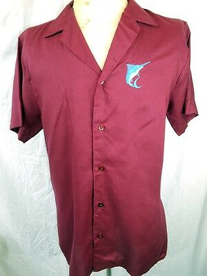 Vintage 70s Short Sleeve Rayon Doni Italy Embroidered Swordfish Resort Shirt M