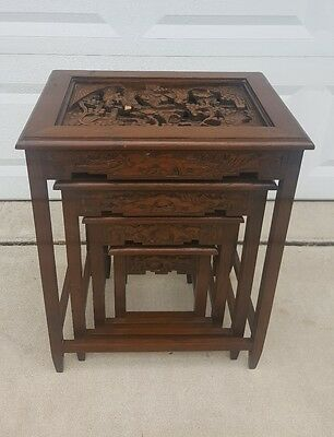 Antique Carved Asian Nesting Tables- Set of Four