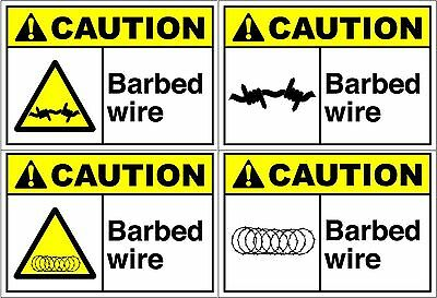 Peel And Stick Caution Barbed Wire Safety Label Vinyl Decal Sticker