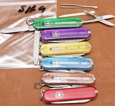 SA9 LOT of 6 different translucent colors Victorinox Classic SD Swiss Army knife