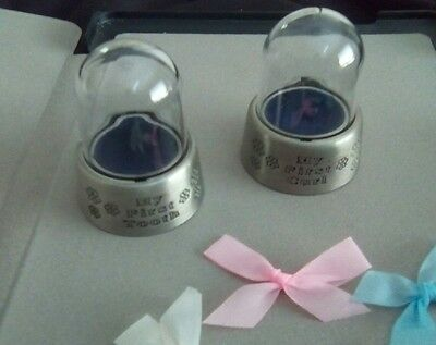Baby's First Keepsake Boxes Tooth & Curl - NEW Pewter (engravable) w/ clear dome