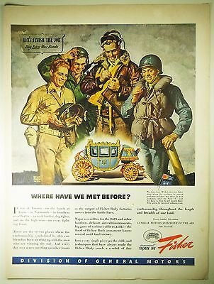 Vintage 1945 GENERAL MOTORS Magazine Print Ad WWII SERVICEMEN Armament by Fisher