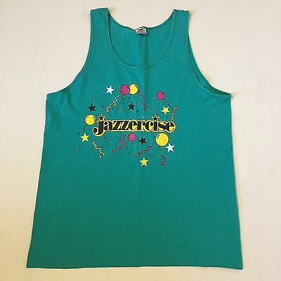 Vintage Jazzercise Adult Size Large Tank Top 80s Exercise Workout Shirt