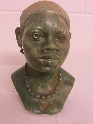 "Zimbabwe (Shona) Africa Verdite Stone Carving, Tribal Woman 8"" Tall Bust"