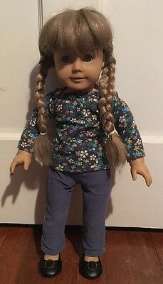 "Pleasant Company American Girl Kirsten 18"" Doll W/ Floral Shirt & Blue Pants"