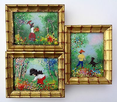"""LOUIS CARDIN LISTED ARTIST ENAMEL ON COPPER SMALL 4"""" x 3"""" PAINTING LOT."""