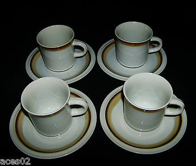 Genuine Stoneware Cream/Beige and Brown Band Cup and Saucer Japan Set of Four