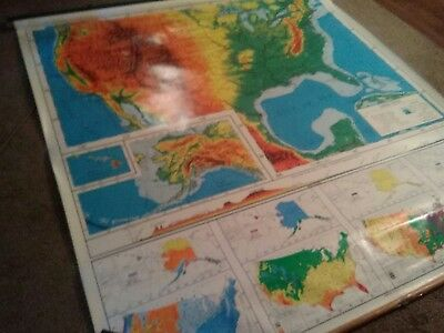 Nystom double vintage pull down large world map and United States