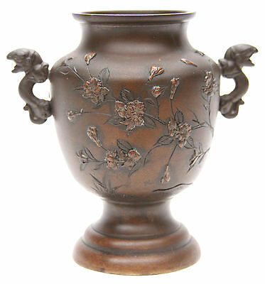 Antique Japanese Meiji Bronze Mixed Metal Vase Cranes Flowers Dragon Japan Old