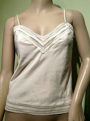 Vintage CHRISTIAN DIOR Lace Camisole Tank Top in Ivory. Nylon/Rayon Size Small