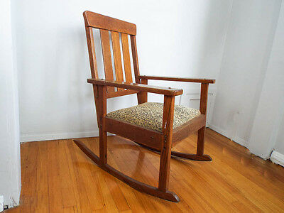 Vintage Mission Style Wooden Rocking Chair Wood Arts and Crafts Rocker Seat