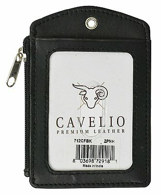 Cavelio ID Printed Lanyard Leather Badge Holder with Neck Strap Black