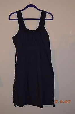 Motherhood Maternity Size Large Navy Blue Dress Gathered Bust Belted
