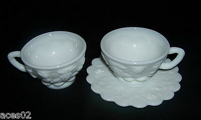 Westmoreland Paneled Grape White Milk Glass Cups and Saucer 3 Pcs