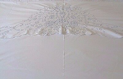 Antique White linen Trousseau Bed sheet French