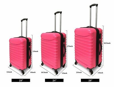 Pink 3 Piece Hardshell Spinner Luggage Travel Set ABS Trolley Suitcase