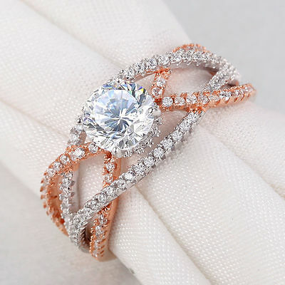 2.0 Ct Round Cut CZ 925 Sterling Silver Rose Gold Wedding Ring Women's Size 9