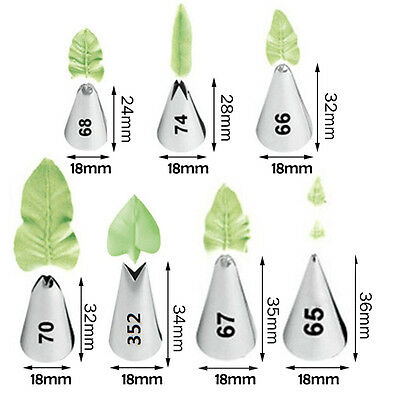 7 Forms Leaf Tips Piping Nozzles Stainless Steel Icing Pastry Cake Decor Tool