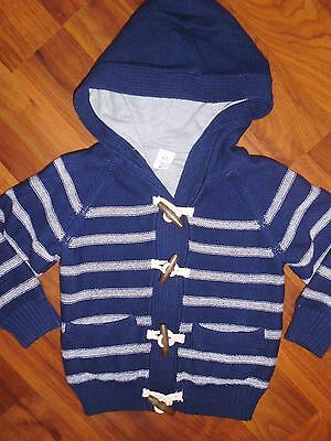 2 T BABY GAP Navy Blue Striped Hooded Toggle Sweater New Toddler Boy NWT