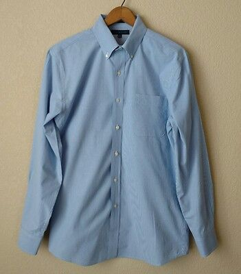 Men's Tommy Hilfiger Slim Fit Button Down Blue Check Dress Shirt size 15.5 32-33