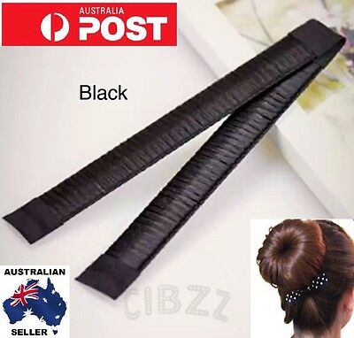 2x Hair Bun Maker Style Strap Tool Donut  French Twist Ponytail BLACK