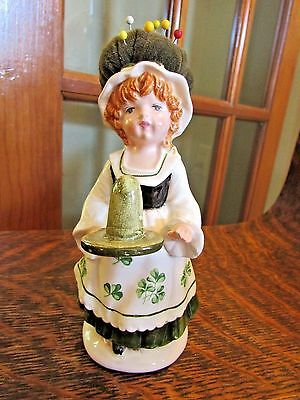 Vintage Schmid Made In Japan, Irish Girl Pin Cushion With Thimble Holder