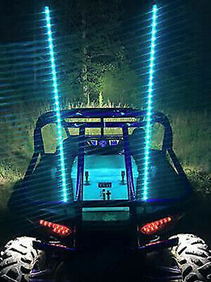 Pair of 4ft LED Whip Lights Color Changing Blue-tooth App ATV Safety Flag Lights