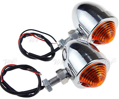 2x Universal Chrome Motorcycle Bullet Turn Signal Indicator Blinker Amber 12V